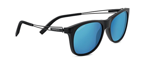 SERENGETI PAVIA SUNGLASSES (SATIN BLACK FRAME POLARIZED 555NM BLUE LENS)