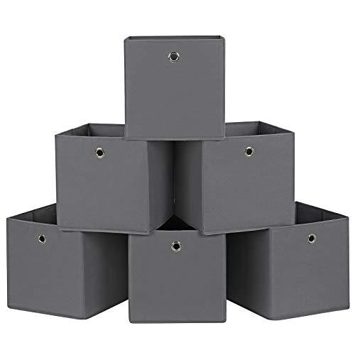 SONGMICS RFB02G-3 Aufbewahrungsbox, Grau, 30 x 30 x 30 cm, 6