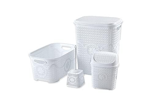 Tradify Set de 4 Piezas Cesto para la Ropa Sucia con Tapa 65 litros, Cesta para la Colada 35 litros y Accesorios de baño. (Blanco)