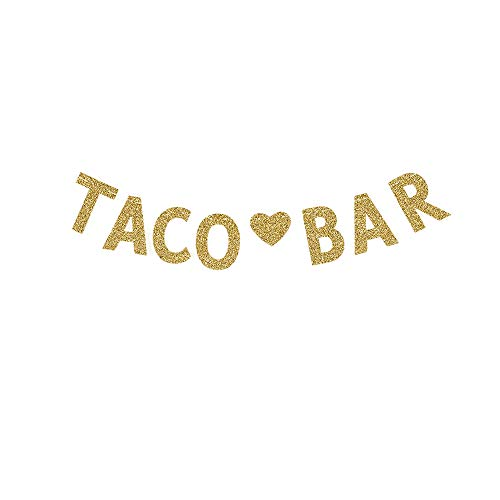 Taco Bar Banner, Mexican Them Party Decorations Fiesta Party Sign Gold Gliter
