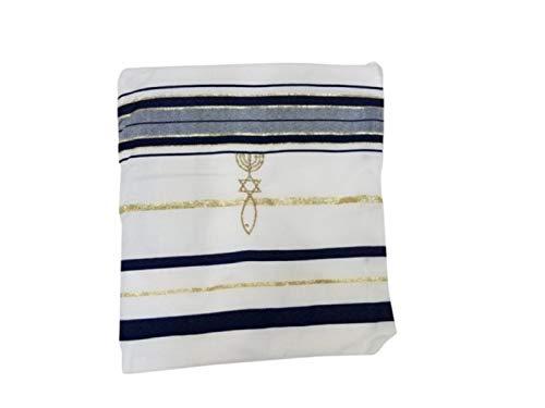 Bethlehem Gifts TM Tallit Gebetshalter, englisch/hebräisch, mit passendem Etui 72 x 22 cm