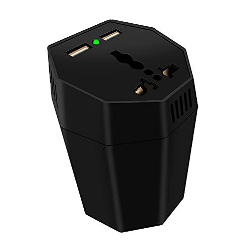 B Blesiya Inversor de corriente para coche Digital Universal 2 en 1 de 150W de 12V a 220V, 3 salidas USB, con encendedor de cigarrillos y toma de corriente - Black