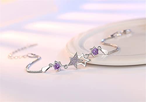 Pulsera Mujer Femenina Caja Caja Cadena Color Plata Pulsera Temperamento Simple Deslumbrante Pulsera De Cristal De Cinco Puntas Joyería Púrpura