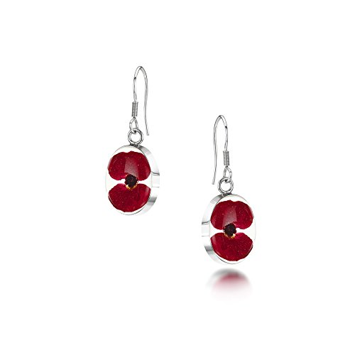 Silver drop Earrings made with real flowers | Poppy | Oval - Includes giftbox
