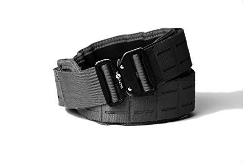 Battle Belt | Tactical Gun Belt With Laser Cut Molle & Quick Release Clip (Tactical Black, S [30' - 33' Waist])