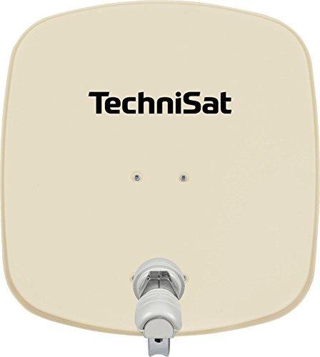 TechniSat DIGIDISH 45 - Satelliten-Schüssel für 1 Teilnehmer (45 cm kleine Sat Anlage - inkl. Wandhalterung, An-Rohr-Fitting zur Montage am Mast (30-63 mm) und Universal V/H Single-LNB) beige