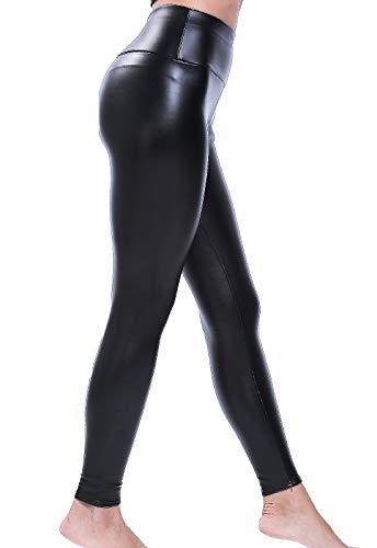 FITTOO PU Leggings Cuero Imitación Pantalón Elásticos Cintura Alta Push Up para Mujer200#2 Clásico...