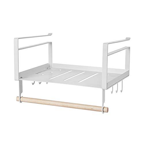 Dasntered - Cestino portaoggetti sotto mensola, da appendere, salvaspazio, con supporto in legno per armadi, ufficio, bagno, cucina (bianco)