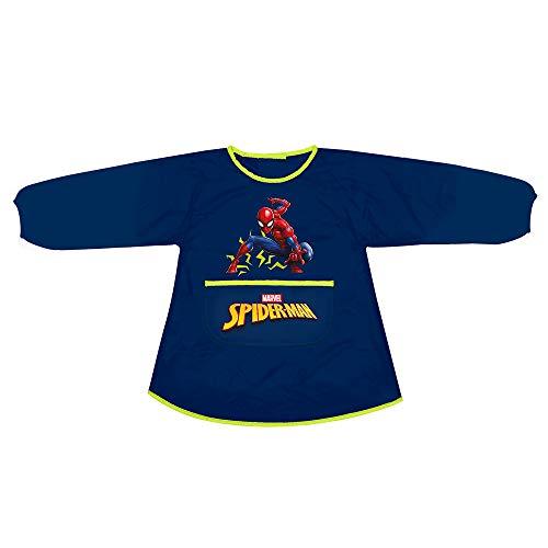 PERLETTI Delantal Infantil Marvel Spiderman - Bata Escolar Niño Impermeable Bolsillo Mangas - para Mantener la Ropa Limpia Seca - Estampado Spider Man Hombre Araña - 3-5 Años(Azul Oscuro, 3/5 Años)