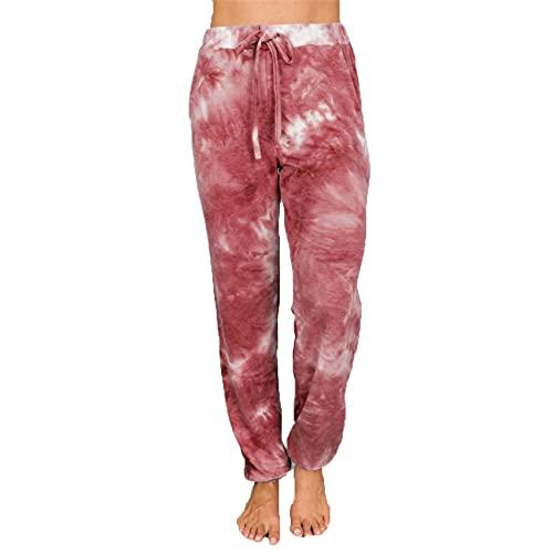 WJANYHN Pantalones Casuales de Linterna de pies pequeños con Estampado de teñido Anudado para Mujer Hermosa