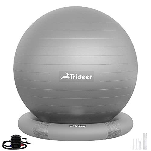 Trideer バランスボール(リング付)55/65㎝ 耐荷重500㎏ 厚い アンチバースト 滑り止め フィットネス ヨガ 椅子 ジム/ホーム/オフィスなどに適用(シルバー リング付き, 65 cm(高さ165-180cm に適応))