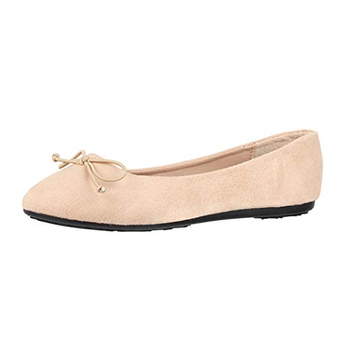 Elara Damen Ballerina Bequeme Slip-Ons Flach chunkyrayan DY-09-Apricot-36