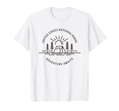 Parques Nacionales Aventura Espera Tienda Camping Línea Dibujo Camiseta