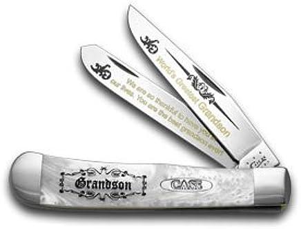 CASE XX Weiß Pearl Corelon World's World's World's Greatest Grandson 1 600 Trapper Pocket Knife Knives B0762CMHG3 | Gewinnen Sie das Lob der Kunden  ff8e58