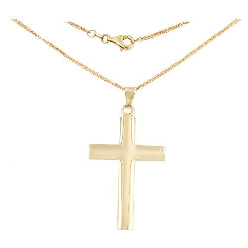Lucchetta - Collar de cruz grande de oro amarillo de 14 quilates con cadena de 50 cm - 6,55 g - Fabricado en Italia Certificado, CR1037-MV25