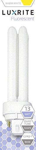 Luxrite LR20340 (2-Pack) CF13DD/E/827 13-Watt Double Tube Compact Fluorescent Light Bulb, Warm White, 2700K, 900 Lumens, G24Q-1 4-Pin Base