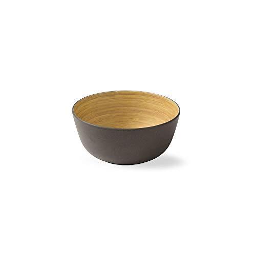 BIOZOYG 4 Stück Premium Bambusschale schwarz anthrazit rund 450 ml I Bambus Geschirr Schüssel Müslischale Obstschale Holzschale Salatschüssel Dekoschale Suppenschale Servierschüssel