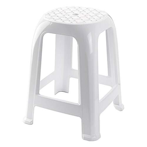 Plastic Forte -Taburete Plástico Blanco Taburete resitente plastico para baño coci etc 37 x 37 x 46,5 cm