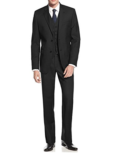 Salvatore Exte Black Modern Fit Vested Suit
