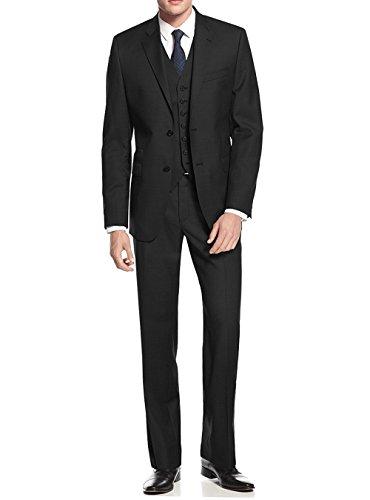Salvatore Exte Black Modern Fit Vested Suit