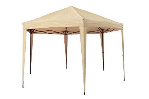 Tepro \'Aruba\' Hexagon Faltpavillon, inkl. Tasche | UV-Schutz 80+ | Sonnenschirm für Garten , Terrase und Balkon | 400 x 350 x 290 cm | Farbe: beige