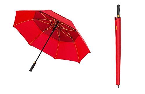 Paraguas de Golf automático con Viento Vented Parasol y Cortavientos Marco de Fibra de Vidrio, Rojo, L