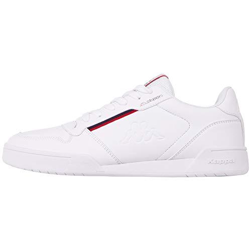 Kappa MARABU Sneaker für Frauen & Männer | Damen & Herren Sportschuhe mit Kappa-Logoprägung und farbigen Applikationen | pflegeleichte Begleiter zu vielen Outfits | weiß, Größe 43 EU