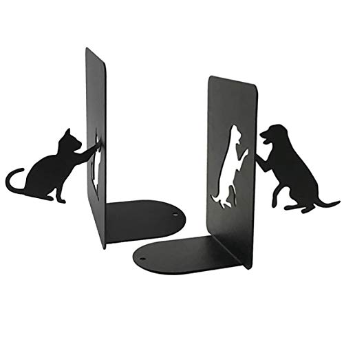PandS Buchstützen für Hunde und Katzen, rutschfest, Eisen, 1 Paar Ideales kreatives Geschenk für den Schreibtisch, Urlaub, Heimtierliebhaber. Organisieren Sie Ihre Bücher und DVDs.