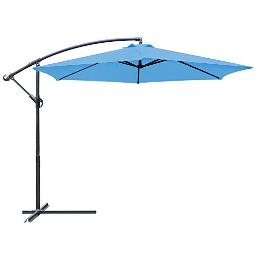 Greesum Offset Umbrella 10FT Cantilever Patio Hanging Umbrella Outdoor Market Umbrella with Crank and Cross Base (Light Blue)