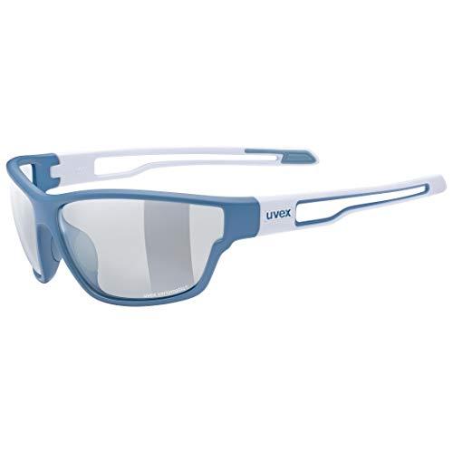 uvex Unisex– Erwachsene, sportstyle 806 V Sportbrille, selbsttönend, blue white/smoke, one size