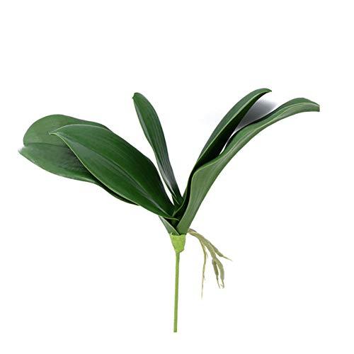Runfon Kunstpflanze mit Schmetterling, Orchidee, Blätter, realistisch, Schmetterling, Orchidee, Blätter, für den Außenbereich, Dekoration für den Garten, Real Touch, Kunstblatt, 1 Stück