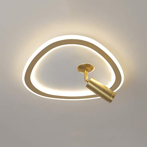 Deckenleuchte Mit Spotlampe Wohnzimmer Modern Dimmbar Deckenlampe Schlafzimmer Acryl Aluminium Deckenbeleuchtung Mit Fernbedienung Für Esszimmer Küche Und Büro,Gold 25cm
