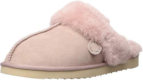 Dearfoams Women's Fireside Sydney Water Resistant Shearling Scuff Slipper, Dusty Pink,8
