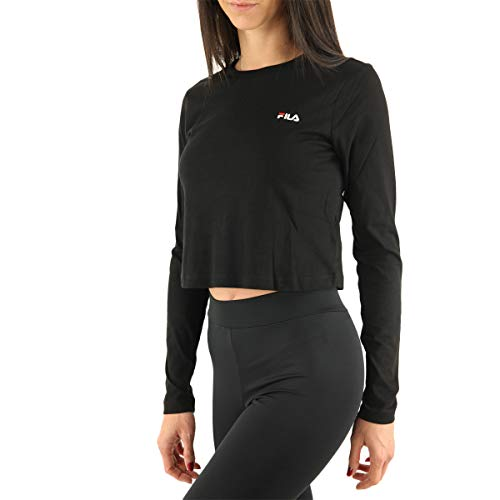 Fila Women EAVEN Cropped Long Sleeve Shirt T, Nero, M Donna