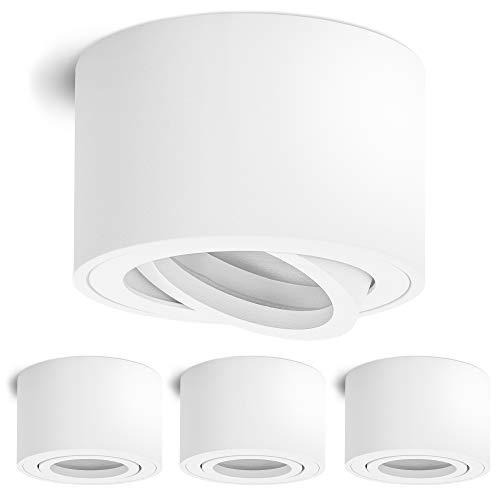 4 Stück linovum SMOL Downlight extra flach schwenkbar in matt weiß & rund - Aufputzleuchte Ø 80 mm für LED Module
