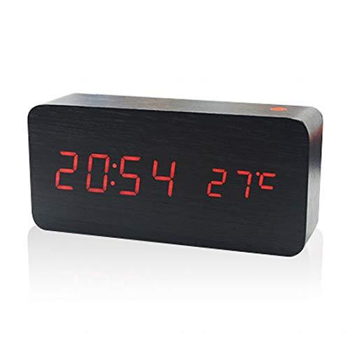 GSODC LED Digitale Alarm Klok Houten Nachtkastje Snooze Alarm Klok Wakker Digitaal met 3 Alarmen en Klok Voice Control voor Slaapkamer Office Kids Tieners