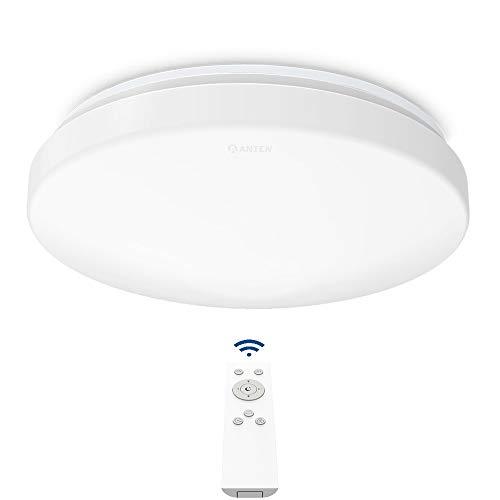 Anten 24W LED Deckenleuchte Dimmbar, Lichtfarbe und Helligkeit einstellbar, Moderne LED Deckenlampe Deckenbeleuchtung Schlafzimmerlampe für Esszimmer Badezimmer geeignet