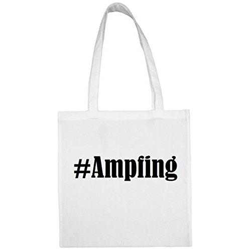Tasche #Ampfing Größe 38x42 Farbe Weiss Druck Schwarz