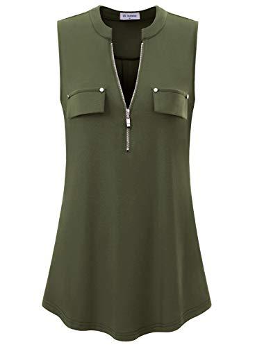 Bulotus Damen V-Ausschnitt Casual Tunika Tank Tops Reißverschluss Ärmellos Bluse Shirt - armee-grün, size: 3X-Groß