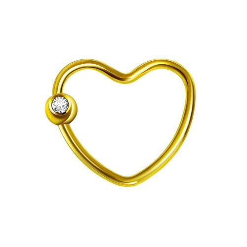 KnSam Stainless Steel Jewelry, Womens Nose Ring, Comfort Fit Heart Shaped Gold