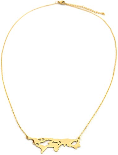 Dielay Damen Kette Globetrotter - Edelstahl - Länge verstellbar 40-45 cm (Gold)