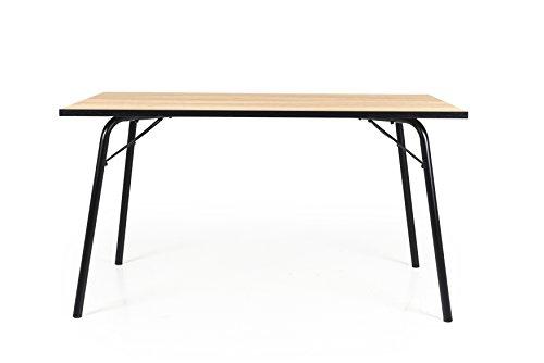 Tenzo 2882-682 Flow Designer Tisch, Spanplatte/Metall, Eiche / Schwarz, 140 x 80 x 75 cm