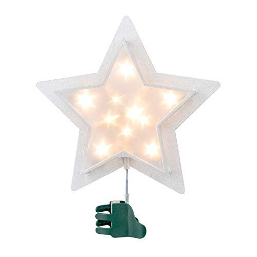 EAMBRITE 27cm Baumspitze Stern Doppelschicht Silberner Glitzer Weihnachtsstern Künstlich Warmweiß LED Weihnachtsdeko Netzbetrieben Funkelnde Sternlichter für Weihnachtsbaum
