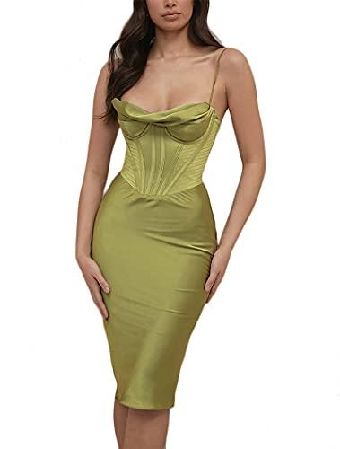 YEMOCILE Damen Sexy Satin-Corset-Kleid mit Wasserfallausschnitt, sexy Spaghettiträger, Cocktail-Party, Midi-Kleid, grün, XL