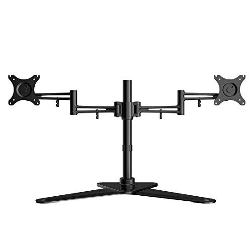 Fleximounts DF2D Aluminium Monitorhalter Tischhalterung Standfuß mit 2 Armen für 2 Monitore 10