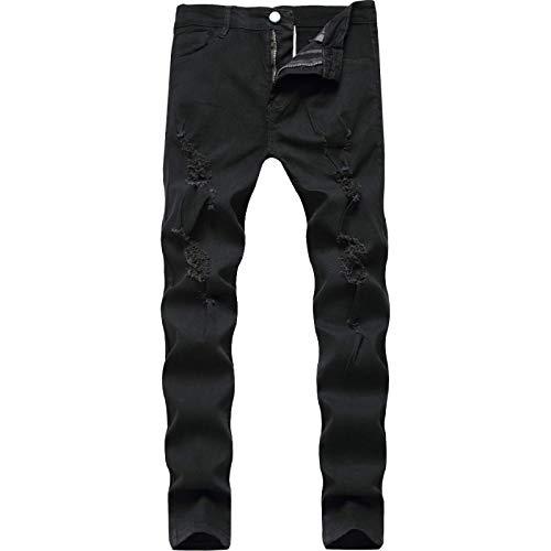 Pantalones Vaqueros para Hombre Pantalones de Mezclilla Ajustados Lavados con Cremallera de Cintura Alta con...