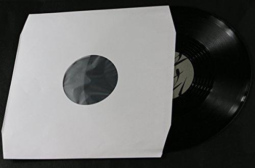 100 Stück LP Schallplatten Innenhüllen weiß mit Eckschnitt gefüttert Vinyl LP Maxi Single