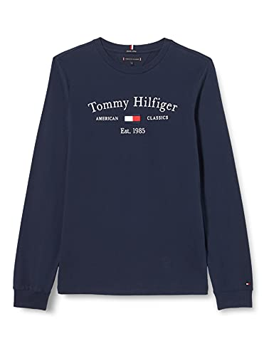 Tommy Hilfiger TH Artwork tee L/S Camiseta, Azul Marino (Twilight Navy), 16 años para Niños