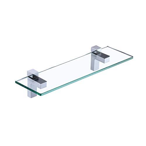 KES Duschregal Glasregal Duschablage Bad Glasablage 8mm Dusche Glas Ablage Badezimmer Wandregal mit Regalhalter 40CM Wandmontage Chrom Poliert, BGS3201S40