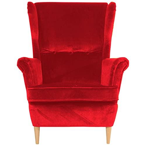 ZeoTioo Ohrensessel Ohrenbackensessel Samtvelours Rot Buche Natur ohrensessel esszimmerstühle esstisch stühle
